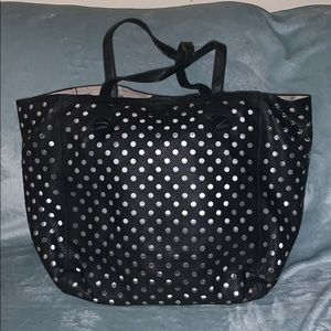 Deux Lux Black Tote with removable Silver insert